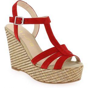Sandales compensées unisa maca en cuir velours...
