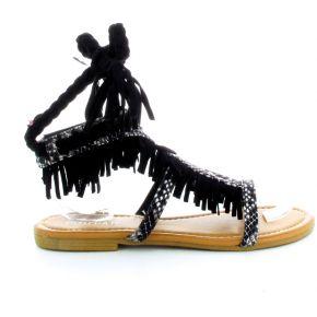 Sandales ariel franges noir et python