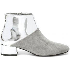 Boots noyce grise cuir velours et argent