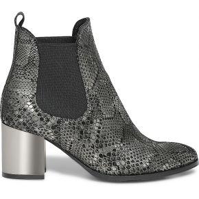 Boots noir cuir imprime python gris