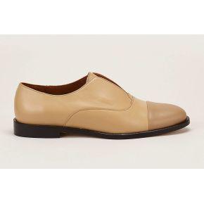 Richelieus en cuir edriss beige/marron -...