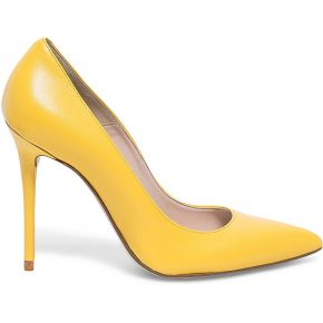 Escarpin stiletto cuir jaune