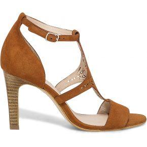 Sandale camel en cuir velours ajouré-cognac-36,...