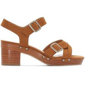Sandales plateforme détail clous feminin marron...