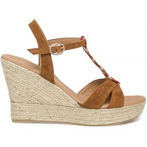 Sandale compensée croûte de cuir...