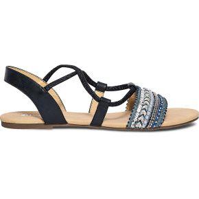Sandale bleue à bride brodée-bleu-36, 37, 38,...