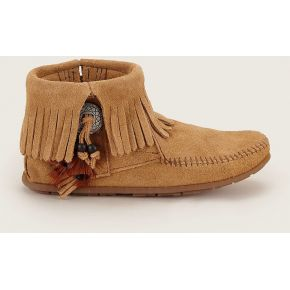 Boots en daim frangés marron clair -...