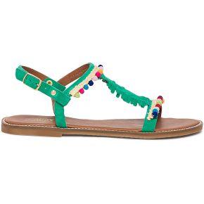 Sandale staggy verte en cuir velours à...