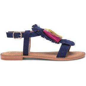 Sandale bleu marine en cuir velours à...