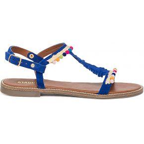 Sandale staggy bleu électrique en cuir...