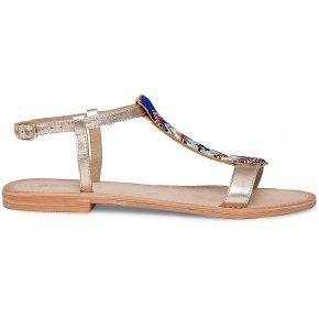 Sandale cuir or plastron perlé multicolore eram