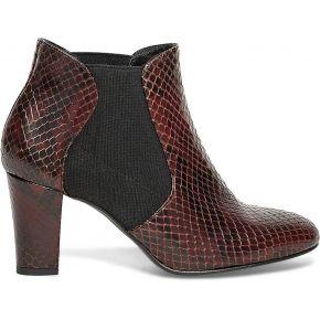 Chelsea boots cuir effet python bordeaux rouge...