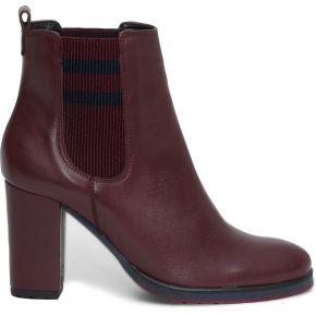 Chelsea boots bordeaux en cuir à élastiques...