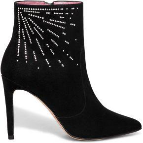 Boots cuir noir orné de cristaux swarovski® à...