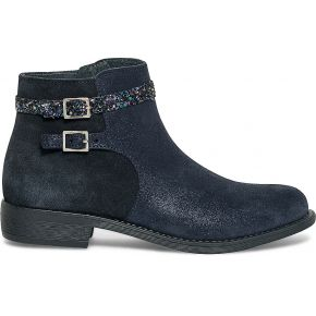 Boots bride pailletée cuir bleu irisé marine...