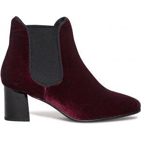 Chelsea boots prune à talon effet satin