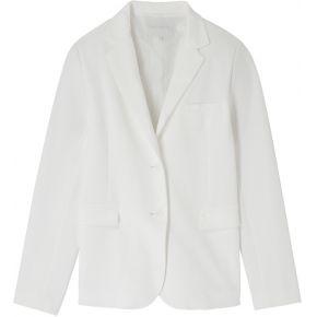 Blazer cintré uni en coton piqué femme blanc...