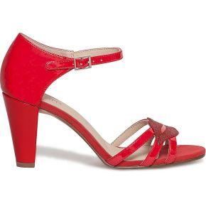 Sandale talon bouche vernie rouge