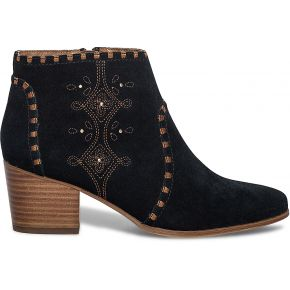 Boots broderies croûte de cuir noir