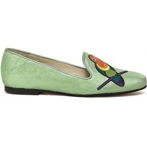Slippers noyce cuir vert