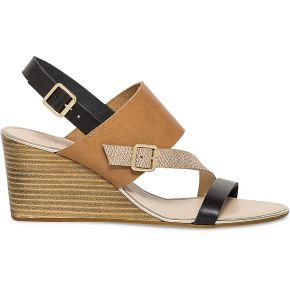 Sandale compensée camel et noire