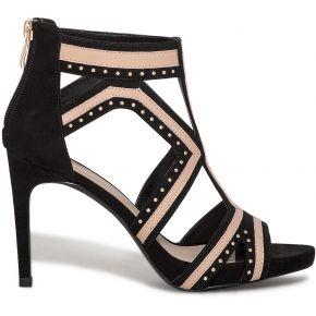 Sandale noire et rose à talon