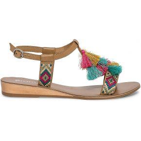 Sandale cuir camel à pompons