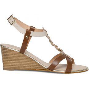 Sandale beige et marron à talon compensé