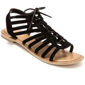 Sandales cuir velours à lacets style spartiates...